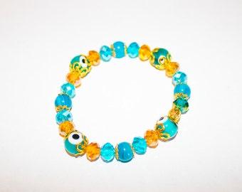Evil eye and Blue Agate Gemstone Bracelet