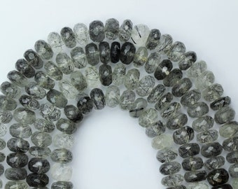 AAA+ quality gemstone 8 inch long strand of Black Rutile faceted Beads 4 x 8 -- 6 x 8 mm