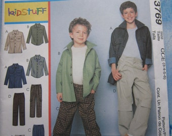 McCalls 3769 Boy's Cargo Trousers and Button Up Shirt/Jacket Sewing Pattern 3-6