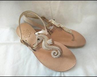 sea Horse, crystal stones,Sandals,