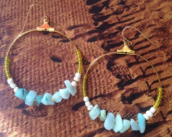 Hoop earrings Amazonite