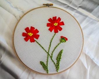 """7"""" floral hoop art"""