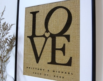 Anniversary Gift  // Personallized Gift // Burlap Print // LOVE // Housewarming Gift