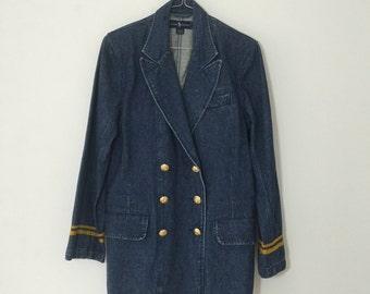 1980's Vintage Ralph Lauren Denim Blazer // Size M