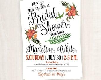 Bridal Shower Invitation, Floral Bridal Shower Printable,  5x7 Custom Bridal Shower Invitation, Floral Bridal Shower Inivitation