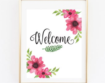 Floral Welcome Sign, Bridal Shower Printable, Bridal Shower Games, 8x10 Bridal Instant Printable Flowers, Welcome sign,Welcome Bridal shower