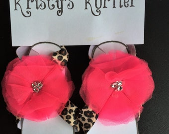 Leopard print with pink flower barefoot sandals