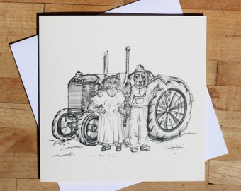 Greeting Card for any Occasion- A cat and dogs farming life