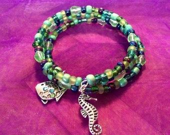 Beach  seahorse memory wire bracelet