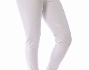 Ladies White Silicon Knee Patch Jodhpurs