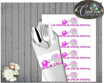 Baby shower elephant NAPKIN RINGS printable, magenta elephant pink girl baby shower theme, digital file, Jpg Pdf, instant download - ep001