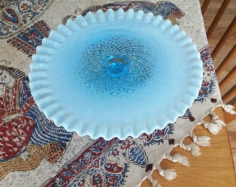 Fenton Blue Opalescent Diamond and Lace Cake Stand