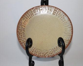 Frankoma Pottery Mayan Aztec (Desert Gold) Saucers 7E, 1940s Vintage
