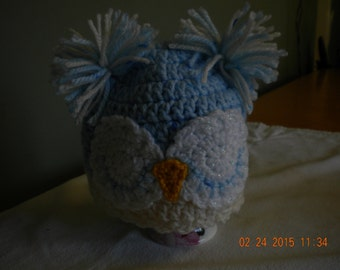 hand crocheted newborn boys owl hat