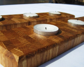 End Grain Oak Tea Light Holders, Set of 2