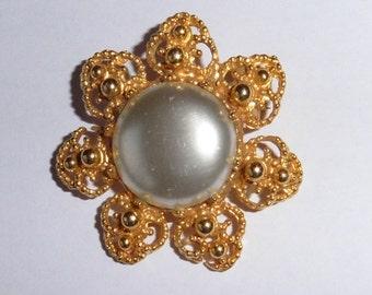 Vintage Gold Filigree and Paste Brooch