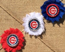 Set of 3 Shabby Chic Custom Chicago Cubs Hair Clip Bows