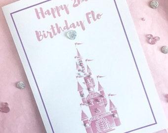 Personalised Princess Castle Birthday Card