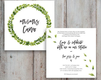 Green Foliage Wedding invites