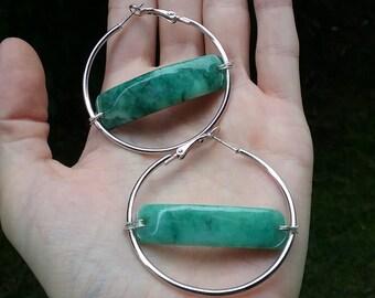 Sterling Silver Jade Hoops