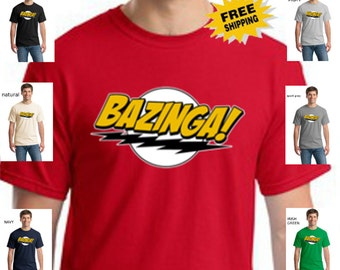 Funny Bazinga Big Bang Theory Sheldon Cooper Mens Cotton T Shirt Sizes Small-4XL Short  Sleeve