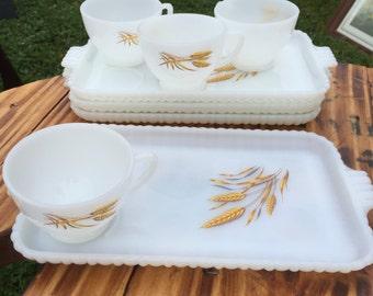 Fire King Snack Set Wheat Pattern