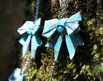 Long nodes turquoise origami earrings