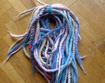 Pastel wool dreadlocks (felted wool)