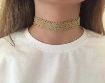 """Choker"" necklace made of fabric Bohemian style"
