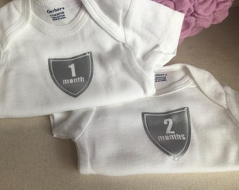 Monthly Onesies for First Year - 12 Month Onesies - Shield Design for Baby - Baby Gift