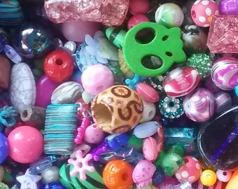 100 Assorted Beads Of All Different Shapes,Sizes,and Materials