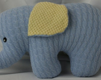 SweaterBaby Elephant Pillow (Made from recycled sweaters)