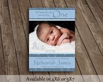Dusty Blue Baby Boy Birth Announcement
