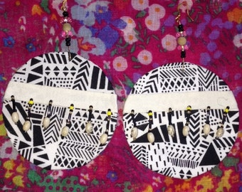 Black and White Tribal Print Earrings