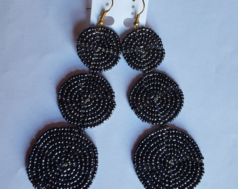 Beaded shiny dark grey/ charcoal black dangle 3 In 1 earrings
