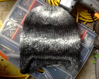 Sting Ray Beanie - variegated super soft beanie with ear flaps