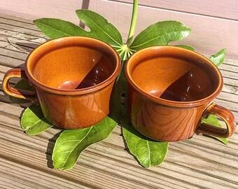 Pair of Vintage tan brown, 1960's diner coffee cups