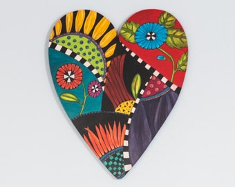 Wooden Heart with Flowers