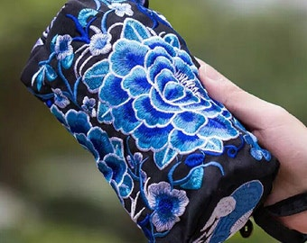 Wristlet Pouch With Blue Floral Embroidery