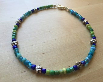 Lime and Aqua Anklet