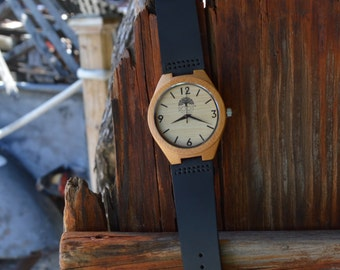 BAMBOO WATCH - Black Leather