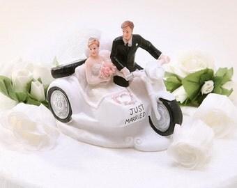Motorcycle Couple Wedding Cake Topper Figurine