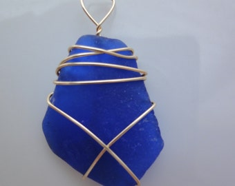 Sea glass wire wrapped pendant