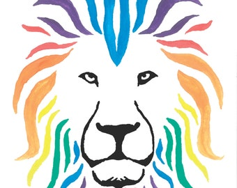 Set of 5 Beautiful Lion #2 Blank Greeting Cards with Envelopes