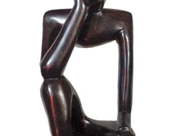 "Variety Hand Carved Ebony Wood ""thinking Man"" and ""Praying Man"""