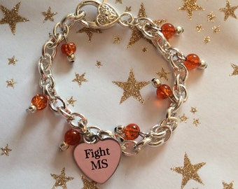 MS Awareness Bracelet | Multiple Sclerosis | Orange bracelet | MS Charm Bracelet | Silver Bracelet | Multiple Sclerosis | 20% to MS Trust