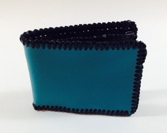 Turquoise Leather Bi-fold Wallet