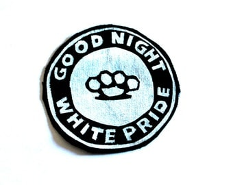 Punk Accessories, Antifascist Patch, Antifa Logo, Skinhead Patch, Hardcore Patch, Good Night White Pride, Handpainted Patch, Rocker Patch