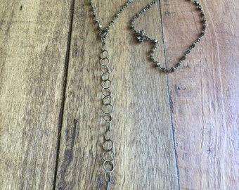 Tiny soldered crystal necklace