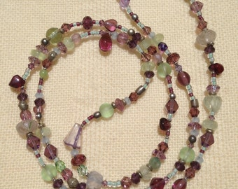 Lavender & green confetti necklace #1
